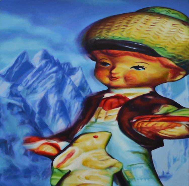 CHRISTINE AERFELDT, LITTLE RABBIT BOY DIETRICH IS ALWAYS BUSY 2002, OIL ON CANVAS, TITLED INSCRIBED, DATED AND SIGNED VERSO, 122 X 1...