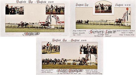 THREE RACE FINISH PHOTOGRAPHS OF THE 1981, 1982 AND 1983 CAULFIELD CUPS All 28cm x 48.5cm