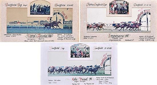 THREE RACE FINISH PHOTOGRAPHS OF THE 1987, 1988 AND 1989 CAULFIELD CUPS All overall 28.5cm x 48.5cm