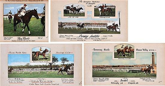 FIVE PHOTOGRAPHIC DISPLAYS OF VARIOUS VICTORIAN HURDLE AND STEEPLECHASE RACES Largest overall 60cm x 41cm