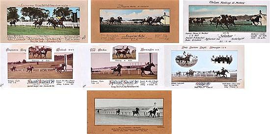 SEVEN PHOTOGRAPHS OF VARIOUS VICTORIAN RACE FINISHES Largest overall 38cm x 59cm