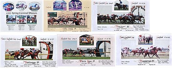 FIVE PHOTOGRAPHS OF CAULFIELD CUP FINISHES 1992-96 All overall 28cm x 48cm