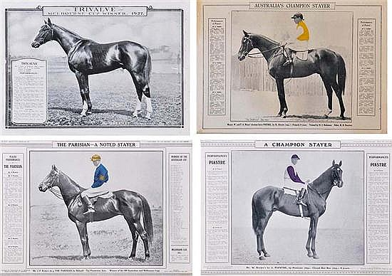 FIVE PRINTS OF CHAMPION RACE HORSES FROM 'THE REFEREE' All overall 31cm x 40cm