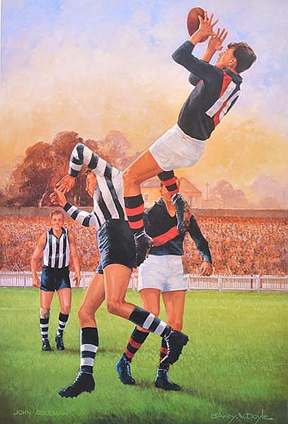 SIGNED D'ARCY DOYLE PRINT OF JOHN COLEMAN Overall 81 x 55cm