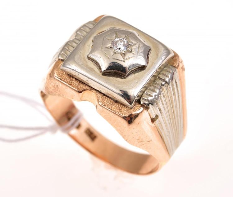 A diamond gents ring stamped 18ct gold for Diamond stamp on jewelry