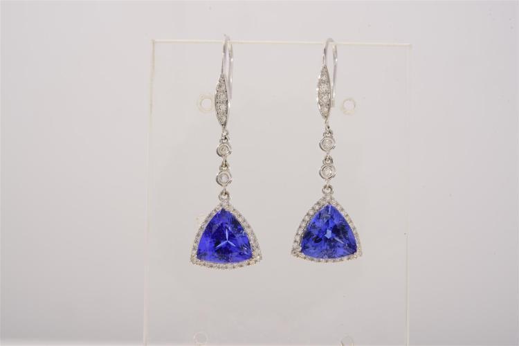 A Trilliant Cut Tanzanite And Diamond Hook Drop Earrings