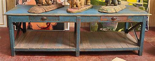 LARGE BLUE PAINTED WOODEN KITCHEN BENCH WITH TWO DRAWERS, 78 HEIGHT X 250 WIDTH X 91CM DEPTH