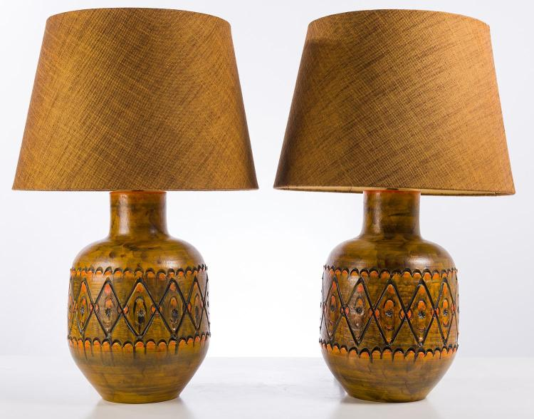 A PAIR OF LAMPS IN THE STYLE OF MARCELLO FANTONI