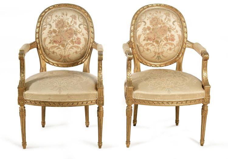 A PAIR OF 19TH CENTURY FRENCH GILTWOOD FRAMED FAUTEUILLES