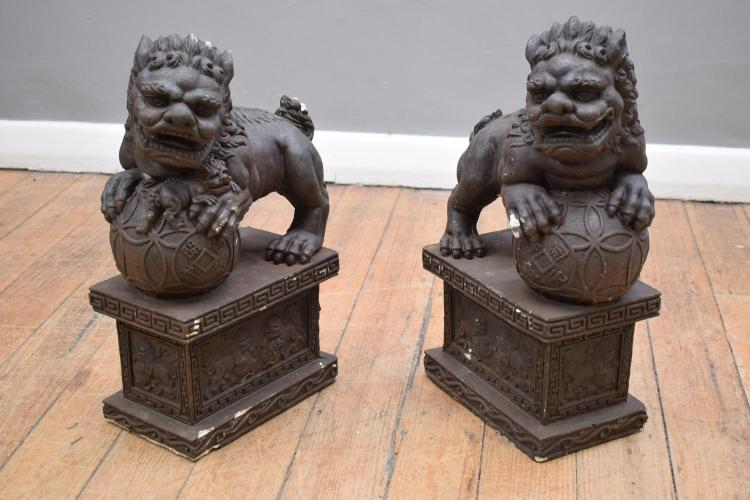 A PAIR OF CHINESE CONCRETE FOO DOGS (losses)