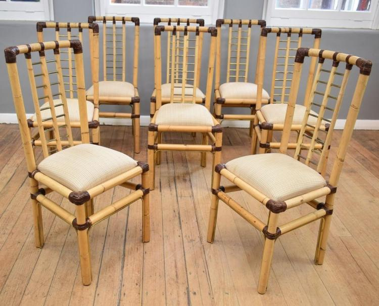 A SET OF EIGHT BAMBOO FRAMED DINING CHAIRS