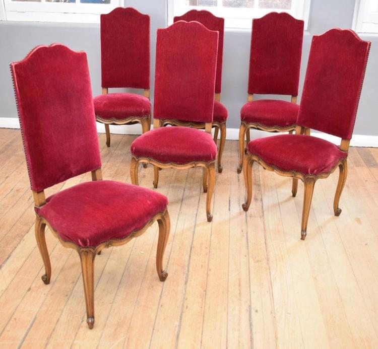 A SET OF SIX EARLY 20TH CENTURY LOUIS XV STYLE HIGHBACK CHAIRS - some wear
