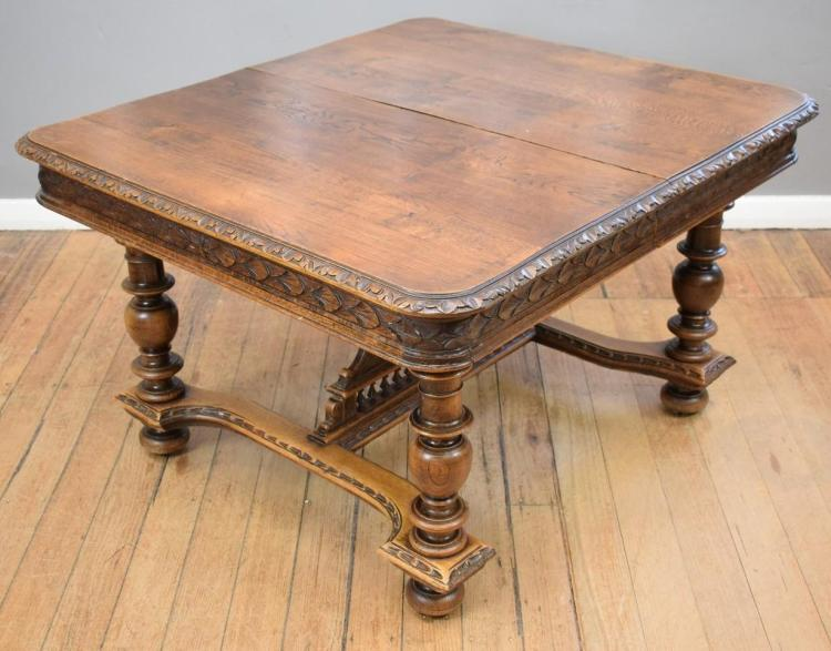 A HENRY II OAK EXTENSION DINING TABLE - no leaves 126W x 118D x 74H cm