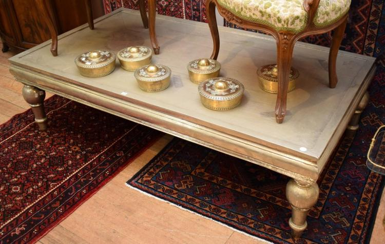 AN ANGLO INDIAN SILVER OVERLAYED COFFEE TABLE