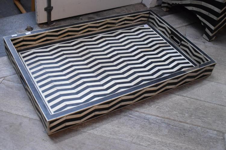 A BLACK AND WHITE CHEVRON TRAY - some losses to edge