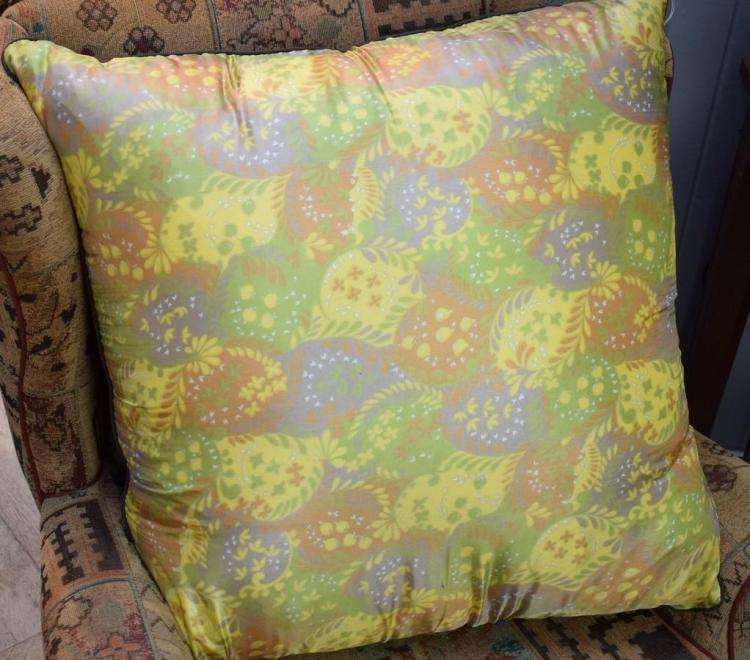A LARGE SILK CUSHION
