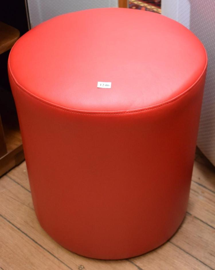 TWO FAUX RED LEATHER STOOLS