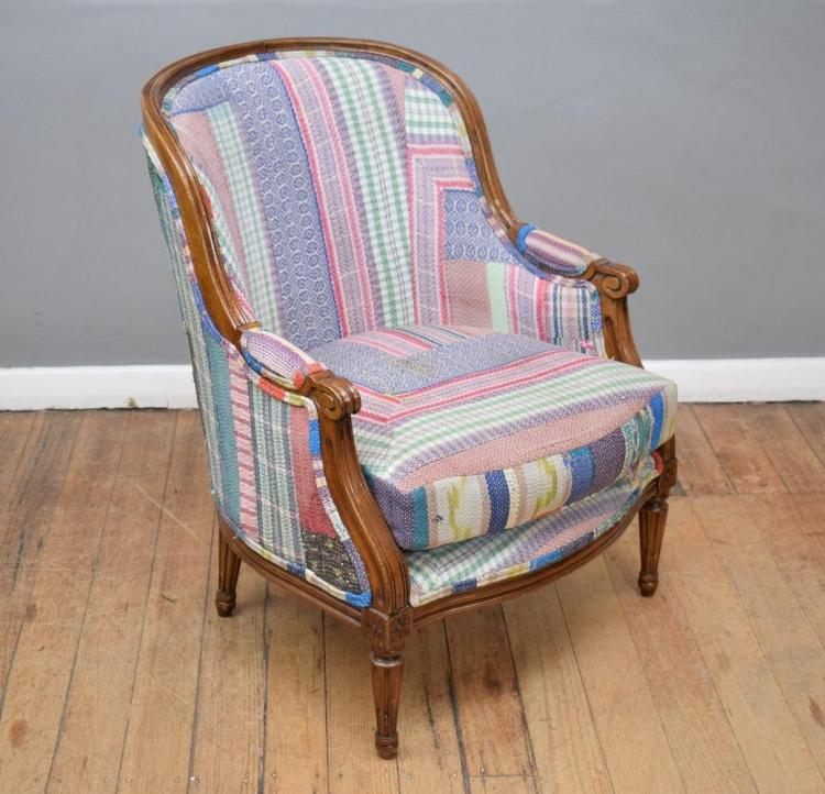 A LOUIS XVI STYLE TUB CHAIR IN PATCHWORK FABRIC