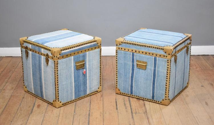 A PAIR OF DHURRIE STORAGE BOXES