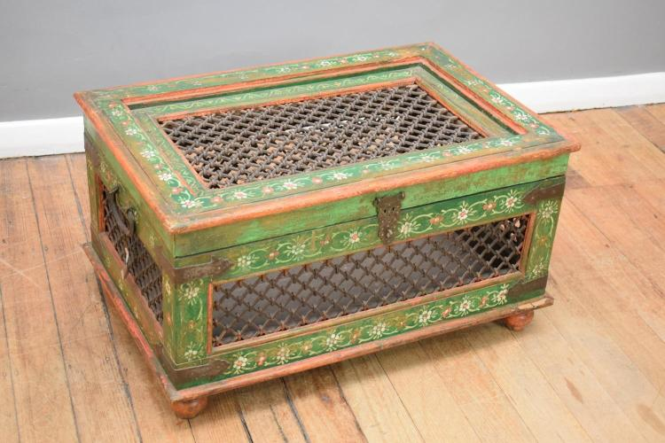 A GREEN PAINTED INDIAN TRUNK (90cm w x 58cm d x 48cm h)