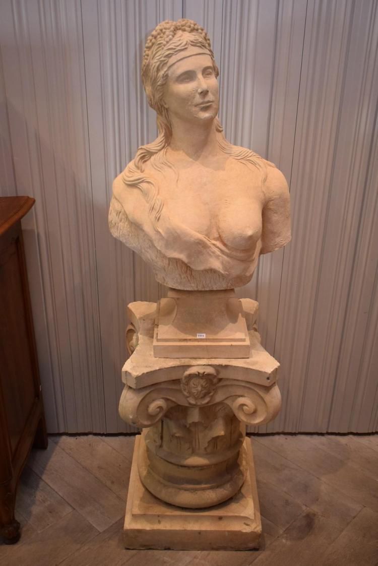 AN IMPRESSIVE CLASSICAL COMPOSITE BUST OF A WOMAN (163cm h x 54cm d x 50cm w)