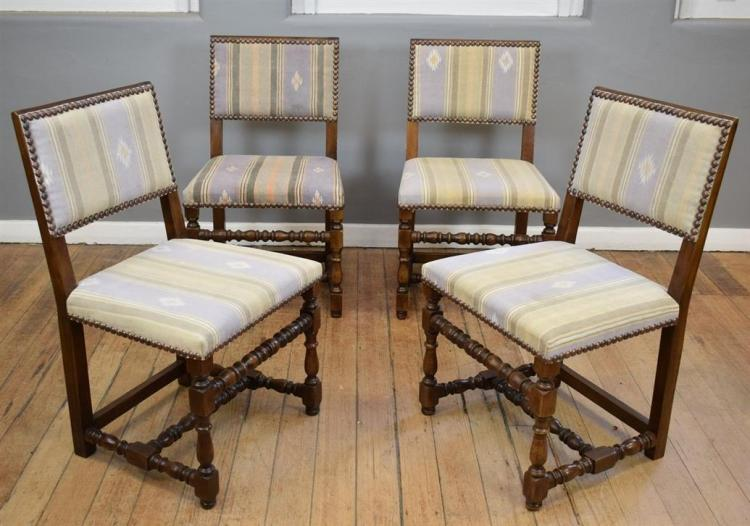 A SET OF EIGHT CHARLES II CHAIRS IN LIGHT COVERED DHURRIE (85cm h x 1.4m w x 50cm l) with few marks to upholstery