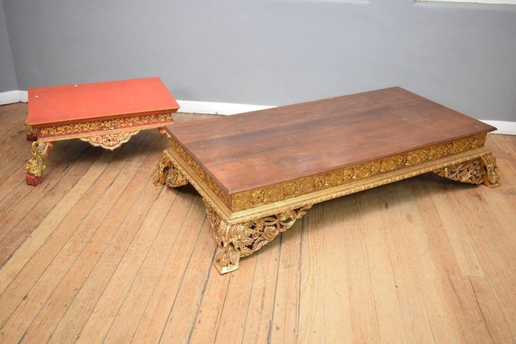 TWO BURMESE  ALTAR STANDS