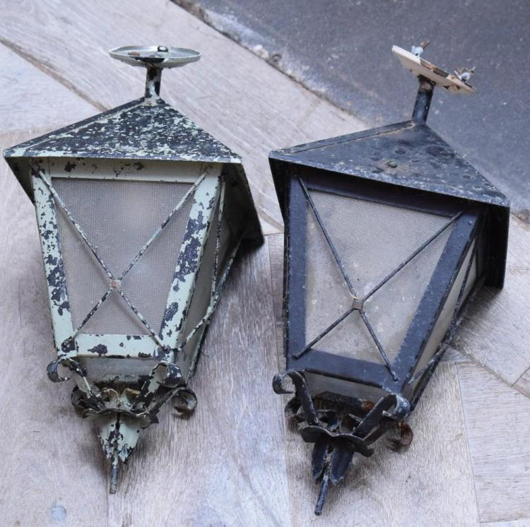 A PAIR OF STEEL LANTERNS