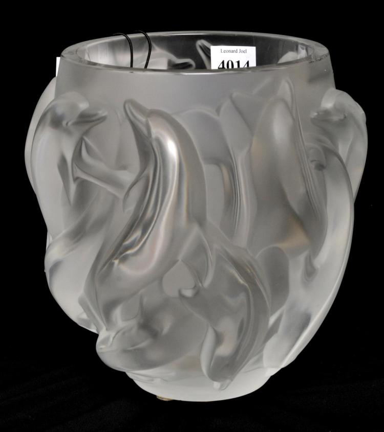 A LALIQUE FROSTED GLASS 'DAUPHINS' PATTERN VASE