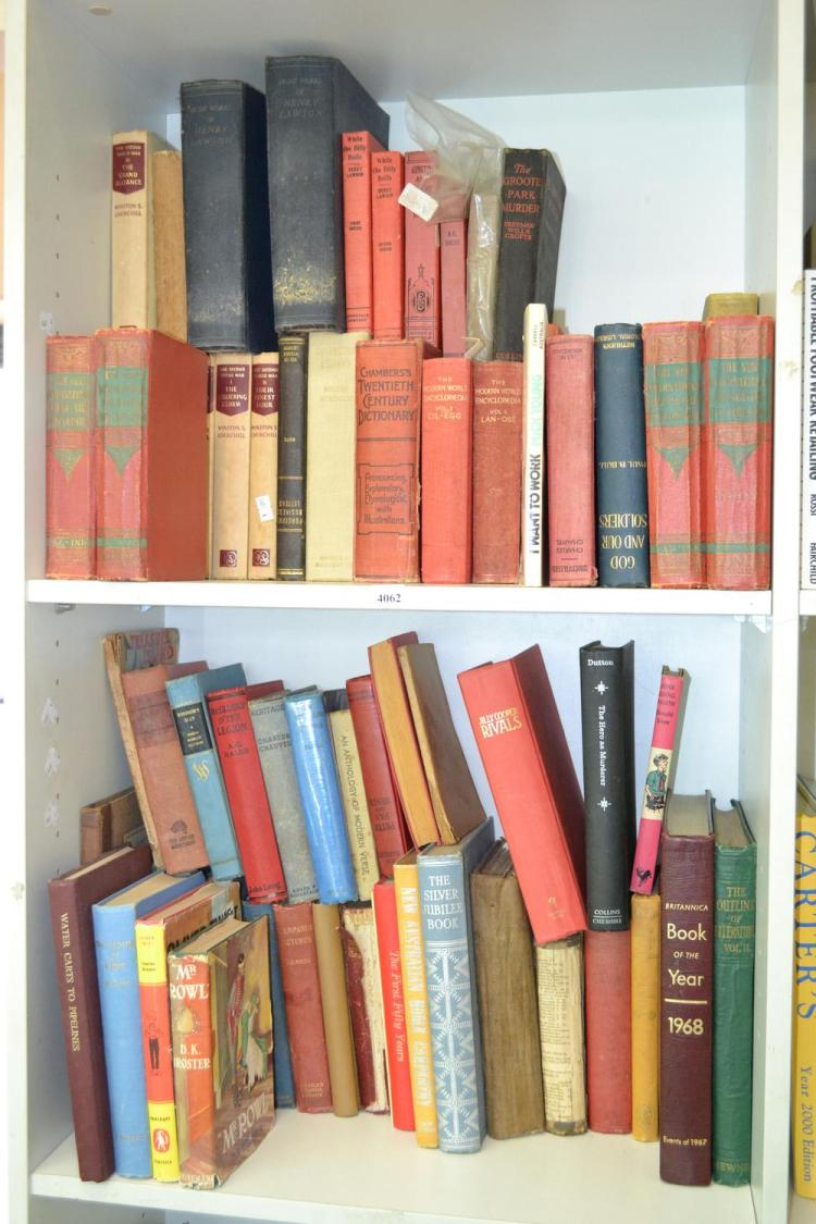 TWO SHELVES OF ASSORTED CANVAS BOUND BOOKS INCL. WINSTON CHURCHILL
