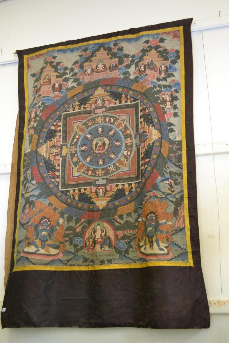 A THAI HANDPAINTED TEMPLE SCROLL, POSSIBLY 19TH CENTURY OR LATER