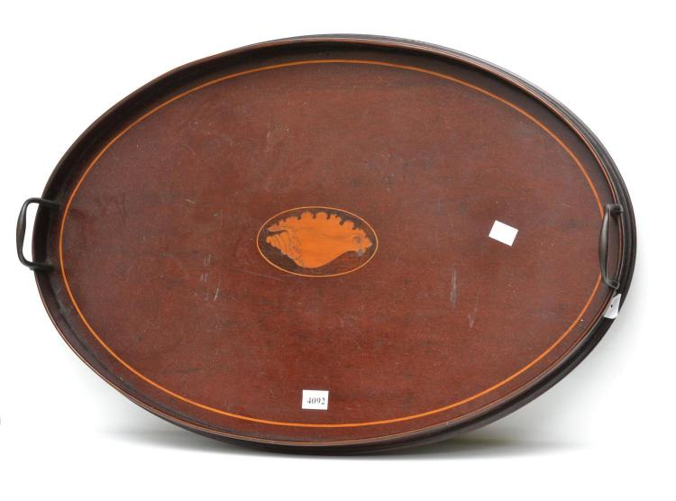 19TH CENTURY SHERATON INLAID WOODEN GALERY TRAY