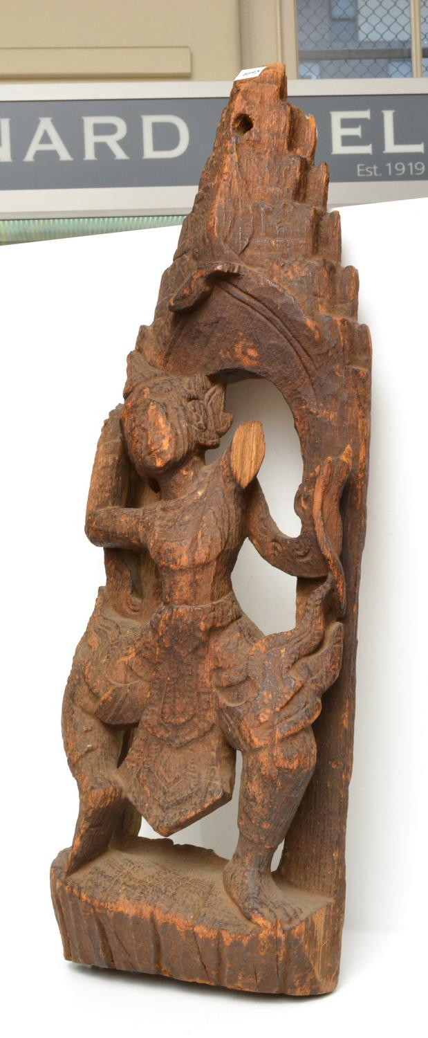 A THAI WOODEN CARVING OF ASPARA