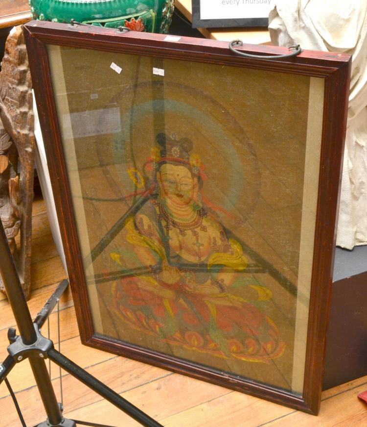 A FRAMED THAI THANKA, PURPORTED TO BE FROM A TEMPLE; 19TH CENTURY OR LATER