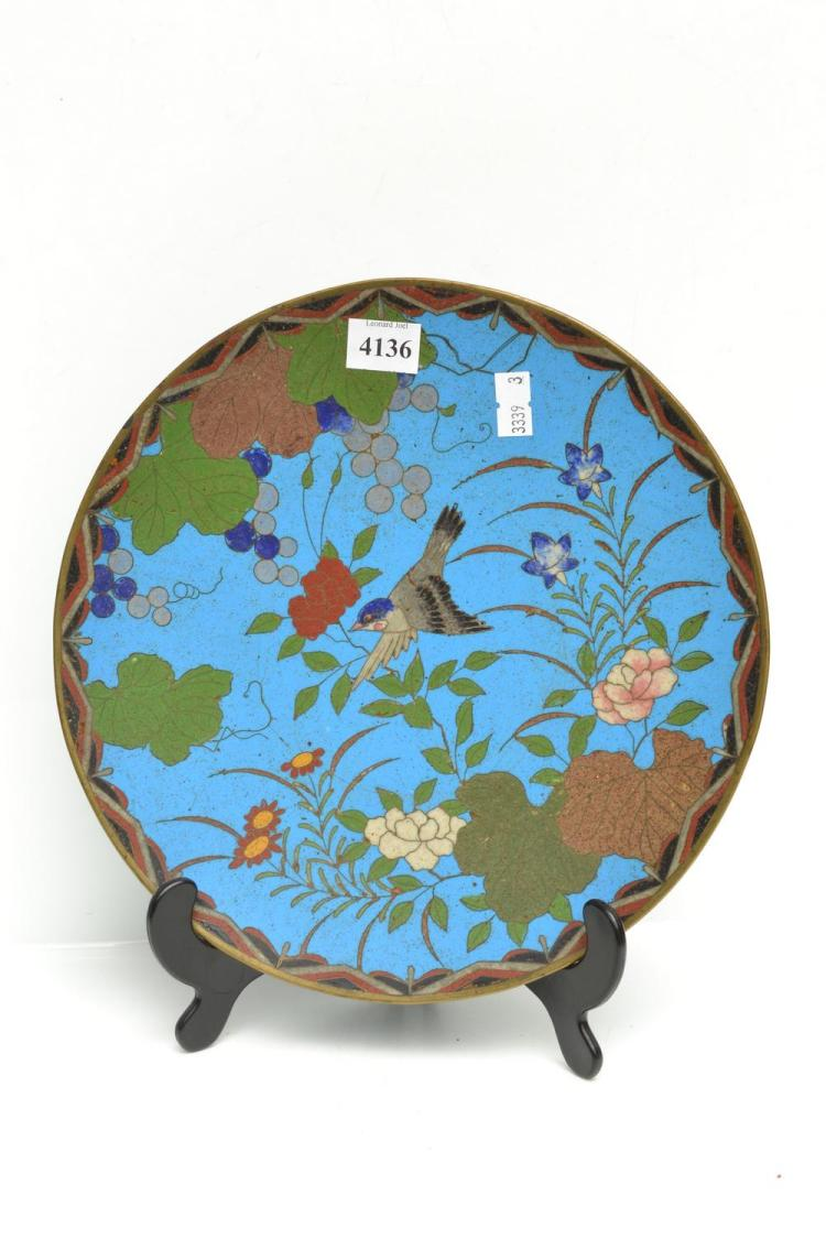 A 19TH CENTURY CLOISONNE CHINESE PLATE