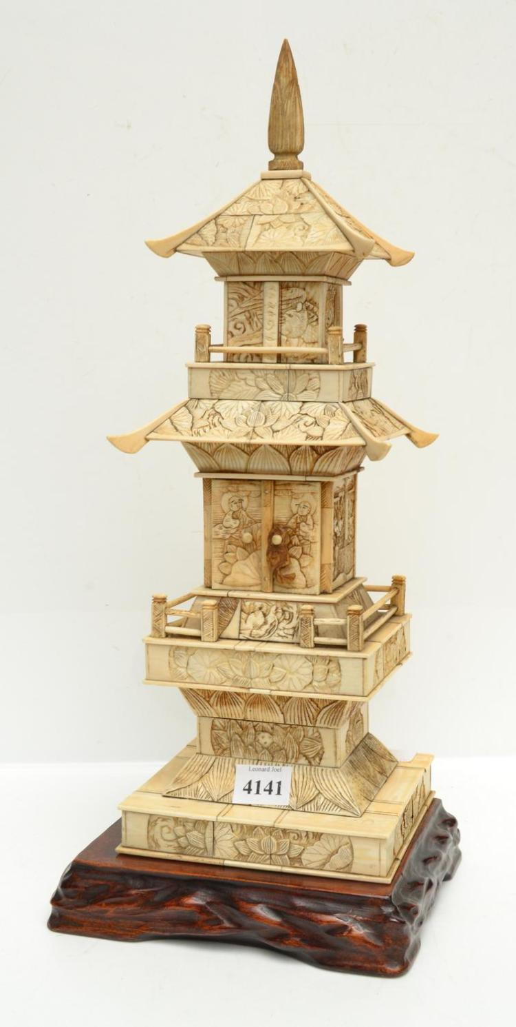 AN UNUSUAL JAPANESE BONE & IVORY PAGODA SHAPED SHRINE, MEIJI PERIOD (1868-1912)