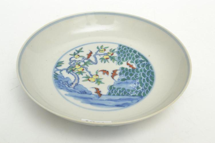 A CHINESE BOWL WITH HANDPAINTED SCENE, MARKED CHINGLONG