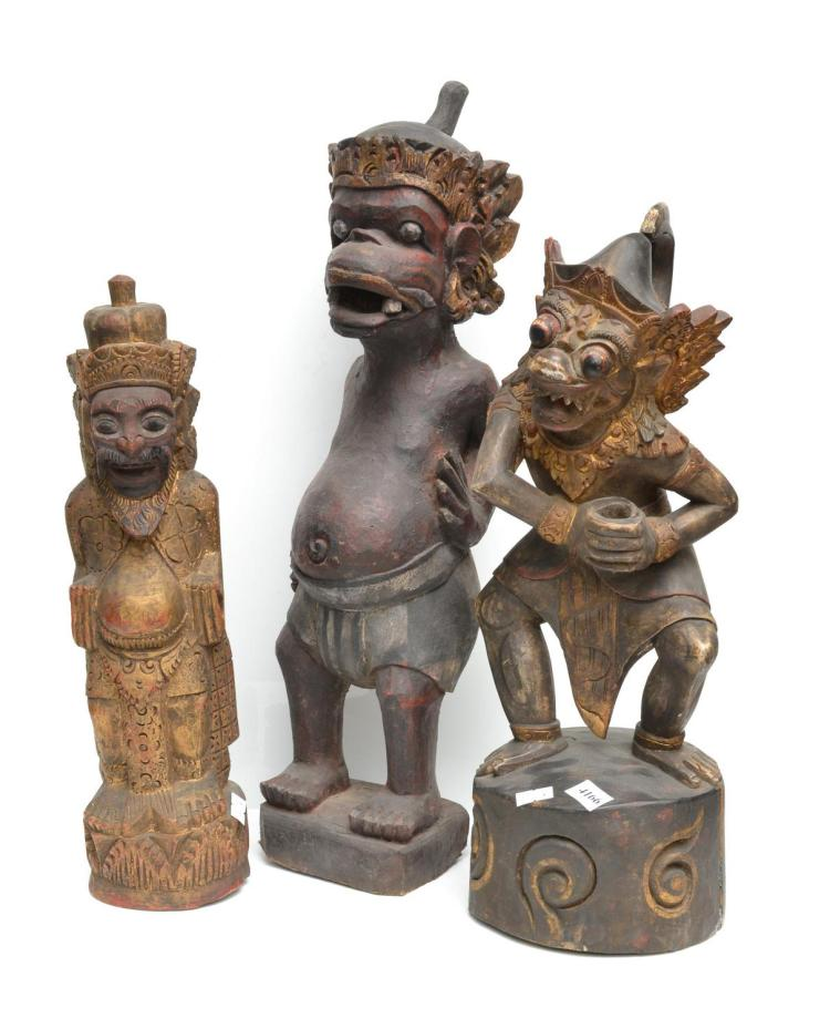 A COLLECTION OF SOUTH EAST ASIAN CARVINGS INCL. BALINESE