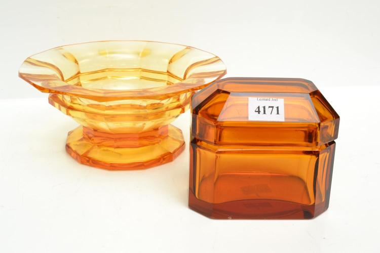 COLLECTION OF ART GLASS IN THE STYLE OF JOSEF HOFFMANN