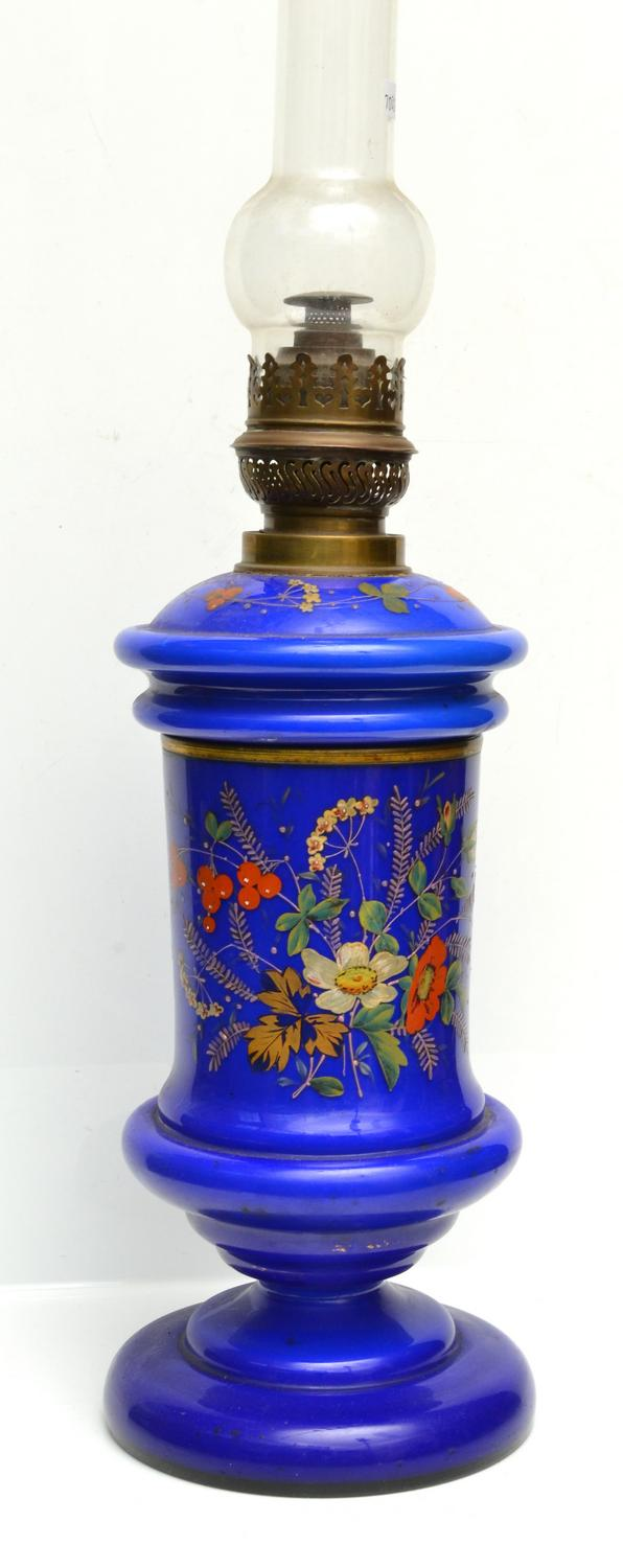 A COBALT BLUE LAMP WITH HANDPAINTED ENAMEL
