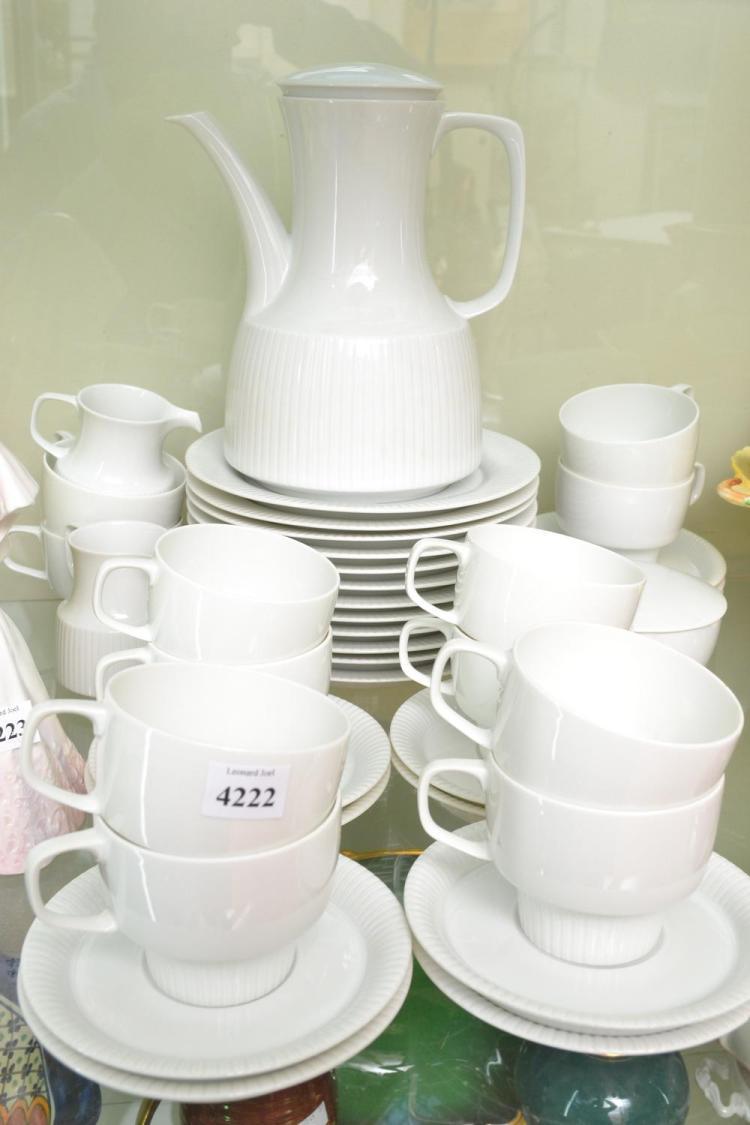 A ROSENTHAL COFFEE SET IN WHITE WITH MATCHING CAKE PLATES