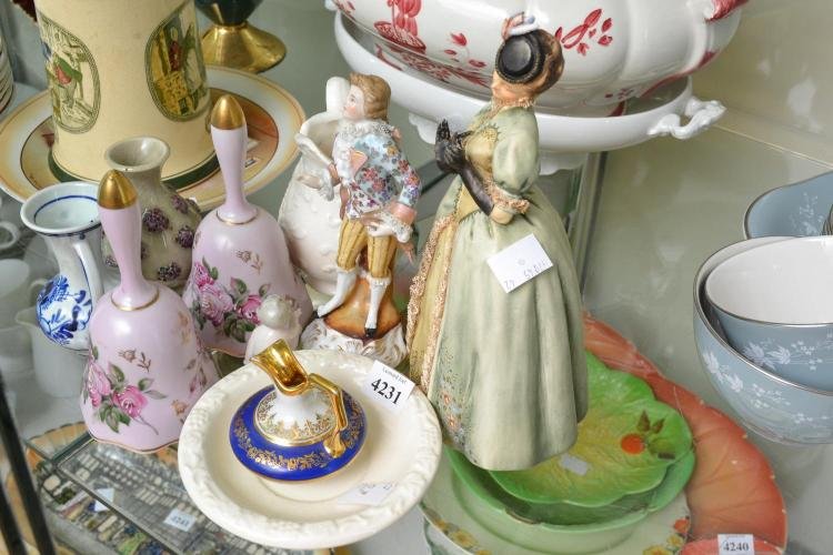 A COLLECTION OF PORCELAIN, INCL. LIMOGES AND FIGURES