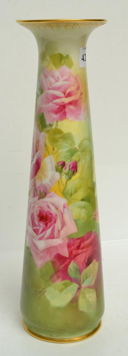 A ROYAL DOULTON VASE WITH FLORAL WORK, SIGNED A. SCOTT