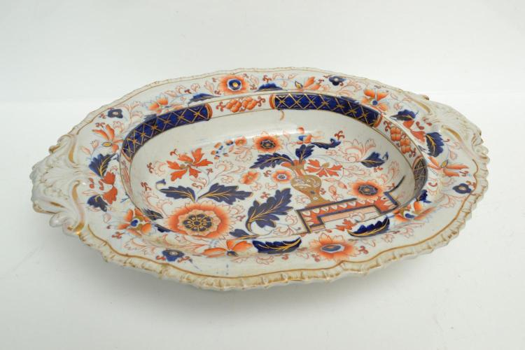 A EARLY MASONS IRONSTONE FOOTED DISH