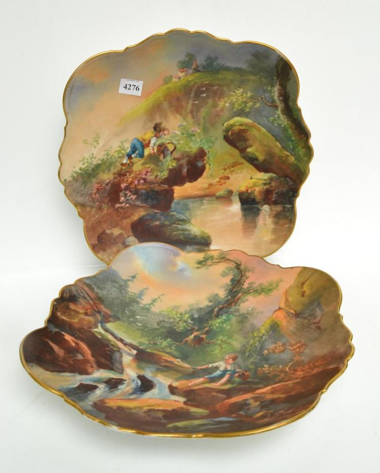 A PAIR OF HANDPAINTED PLATES
