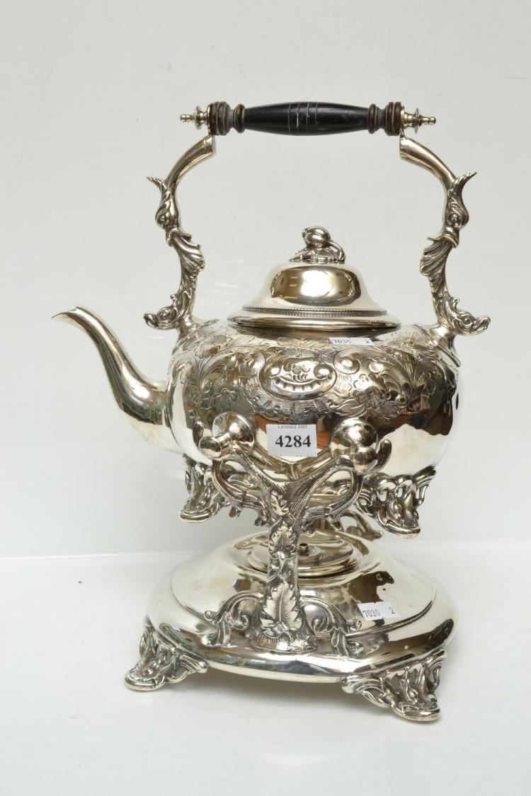 A SILVERPLATE SPIRIT KETTLE