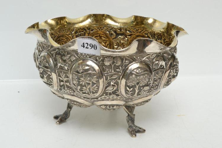 A THAI/BURMESE SILVER FOOTED COMPORT