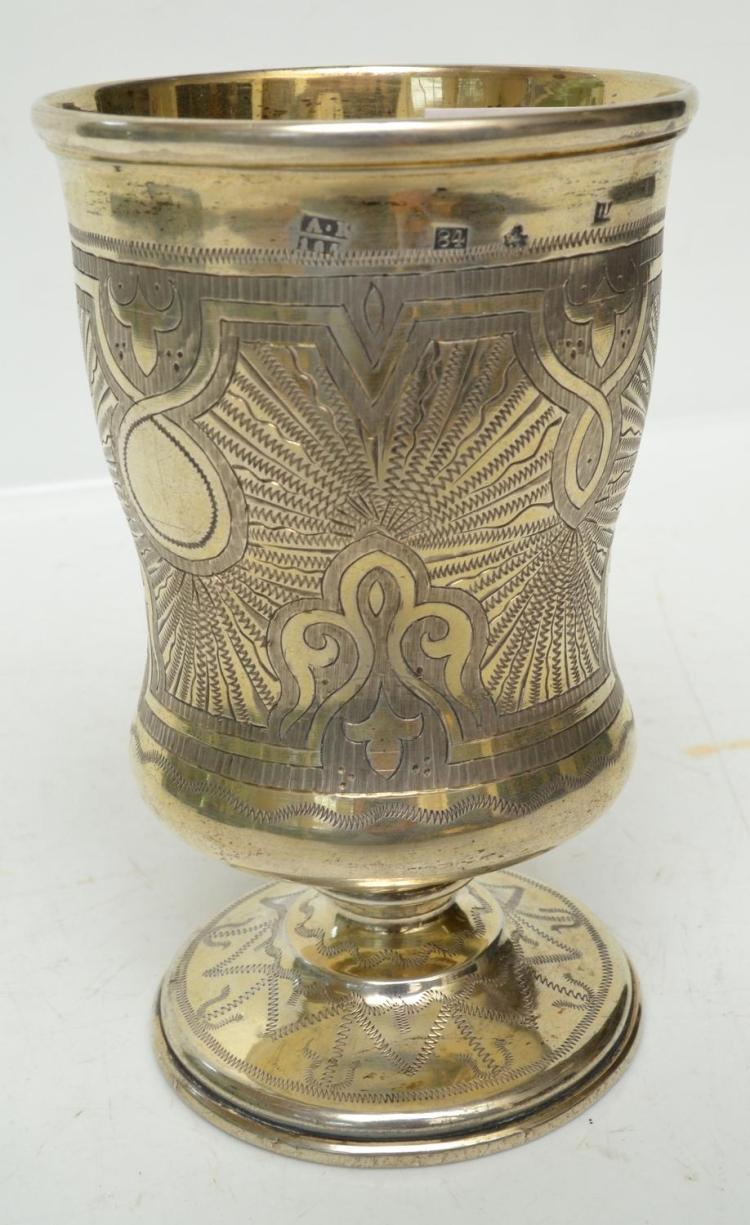 A 19TH CENTURY ENGRAVED RUSSIAN SILVER GOBLET, CIRCA 1850