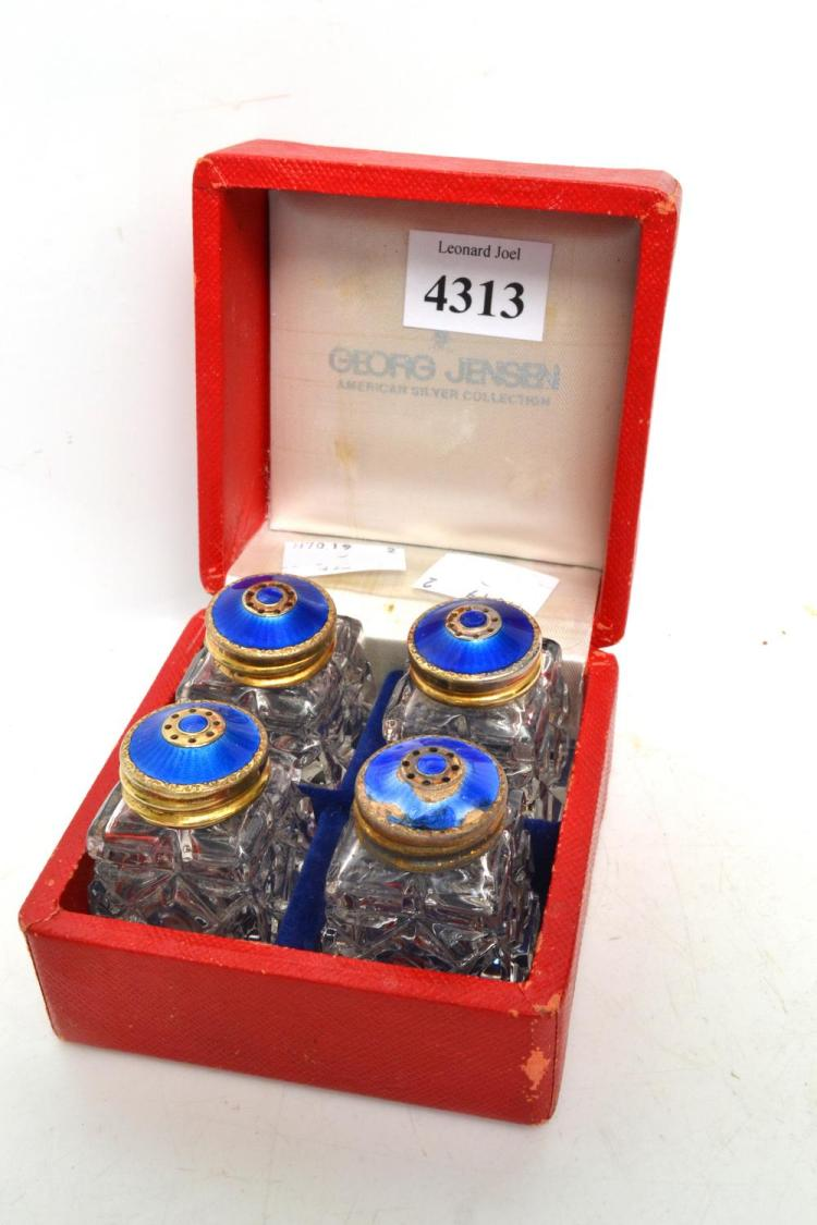 A BOXED GEORG JENSEN CRUET SET; AMERICAN SILVER COLLECTION