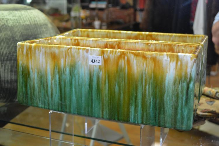 A JOHN CAMPBELL GREEN GLAZED TROUGH